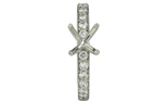 14K WHITE GOLD ROUND BEAD SET DIAMOND SEMI-MOUNTING