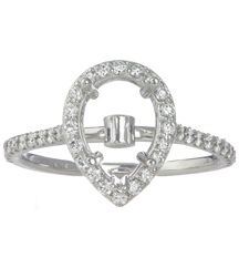 14K WHITE GOLD PEAR SHAPED HALO BEZEL SET AND PAVE DIAMOND SEMI MOUNTING