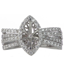 14K WHITE GOLD SPLIT SHANK MARQUISE HALO SEMI MOUNTING