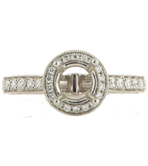 14K WHITE GOLD ROUND DIAMOND HALO SEMI MOUNTING