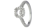 18K WHITE GOLD CUSHION HALO AND CATHEDRAL PAVE DIAMOND AND BEZEL SET SEMI MOUNTING