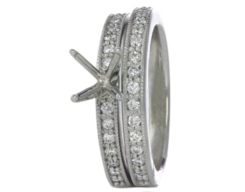 14K WHITE GOLD MILLEGRAIN ROUND CHANNEL SET DIAMOND SEMI MOUNTING AND BAND