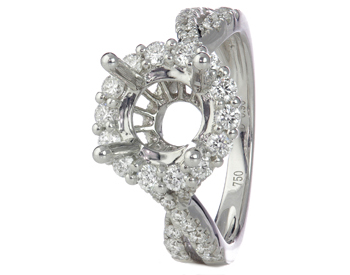 18K WHITE GOLD ROUND HALO SEMI MOUNTING