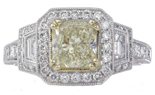 18K WHITE GOLD NATURAL LIGHT YELLOW RADIANT DIAMOND AND OCTAGON HALO RING