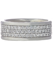 GENTELMAN'S 14K WHITE GOLD 8MM PAVE DIAMOND AND POLISHED EDGE BAND