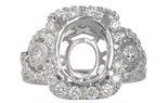 18K WHITE GOLD FANCY MILLEGRAIN FILIGREE OVAL HALO SEMI MOUNTING