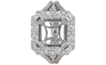 18K WHITE GOLD FANCY MILLEGRAIN SQUARE HALO SEMI MOUNTING