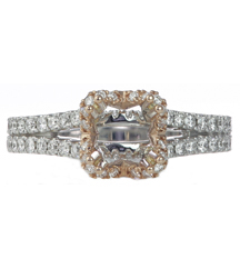 18K WHITE GOLD AND ROSE GOLD PAVE DIAMOND SQUARE HALO SEMI MOUNTING