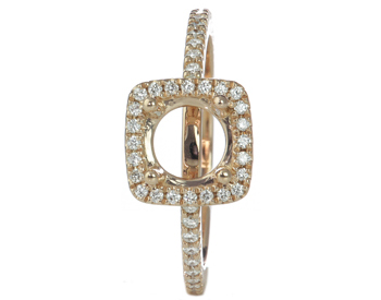 18K ROSE GOLD 4-PRONG SQUARE PAVE DIAMOND HALO SEMI-MOUNTING