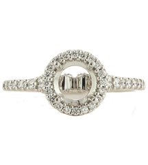 18K WHITE GOLD ROUND PRONG SET DIAMOND HALO TOP SEMI MOUNTING