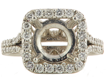 14K WHITE GOLD SQUARE HALO AND SPLIT SHANK ROUND DIAMOND SEMI MOUNTING