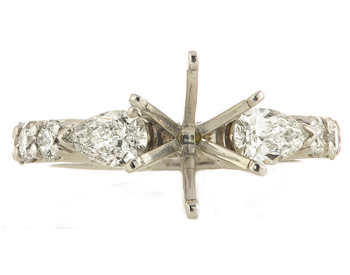 14K WHITE GOLD 3 STONE STYLE SEMI MOUNTING WITH PEAR SHAPED SIDE DIAMONDS