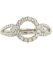 18K WHITE GOLD PAVE DIAMOND ROUND HALO AND LOOP DESIGN SEMI MOUNTING RING