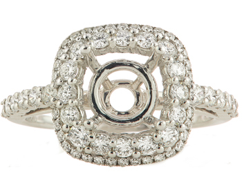 18K WHITE GOLD PAVE DIAMOND DOUBLE CUSHION HALO SEMI MOUNTING RING