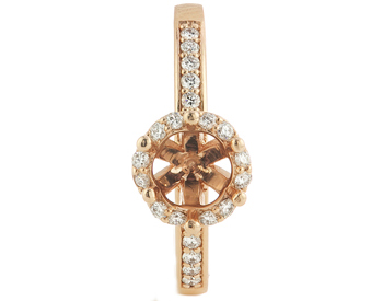 14K ROSE GOLD ROUND HALO DIAMOND SEMI MOUNTING