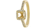 14K YELLOW GOLD SQUARE HALO AND ROUND DIAMOND CATHEDRAL SEMI MOUNTING RING