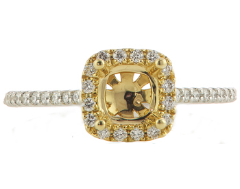 14K YELLOW GOLD AND WHITE GOLD DIAMOND CUSHION HALO SEMI MOUNTING RING