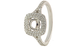 18K WHITE GOLD DOUBLE CUSHION DIAMOND HALO AND SPLIT SHANK SEMI MOUNTING RING