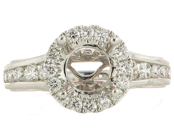 18K WHITE GOLD MILLEGRAIN DESIGN ROUND DIAMOND HALO SEMI MOUNTING RING
