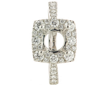 14K WHITE GOLD SQUARE HALO AND ROUND DIAMOND SEMI MOUNTING RING