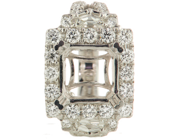 18K WHITE GOLD SQUARE HALO AND SHIELD SIDE DIAMOND FANCY DESIGN SEMI MOUNTING RING