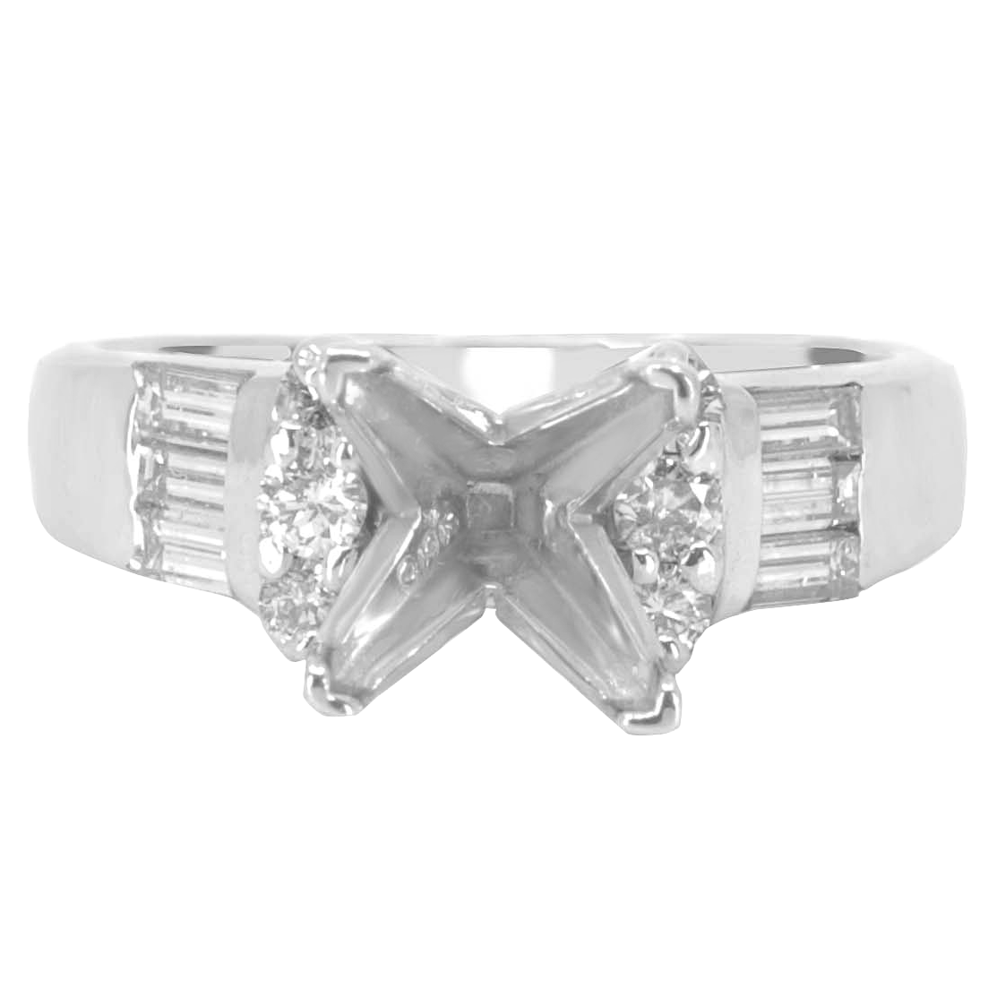 14K WHITE GOLD CATHEDRAL SEMI-MOUNTING CHANNEL SET RING