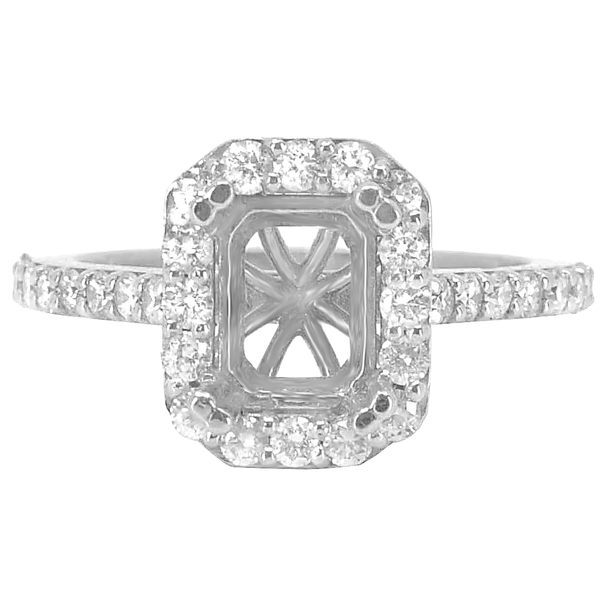 14K WHITE GOLD 9X11 EMERALD CUT HALO DIAMOND ENGAGEMENT RING