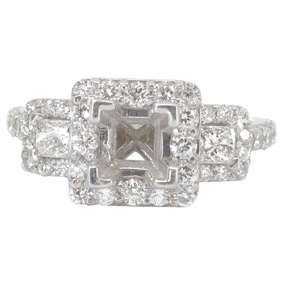 14K WHITE GOLD 3STONE 9MM SQUARE HALO RING