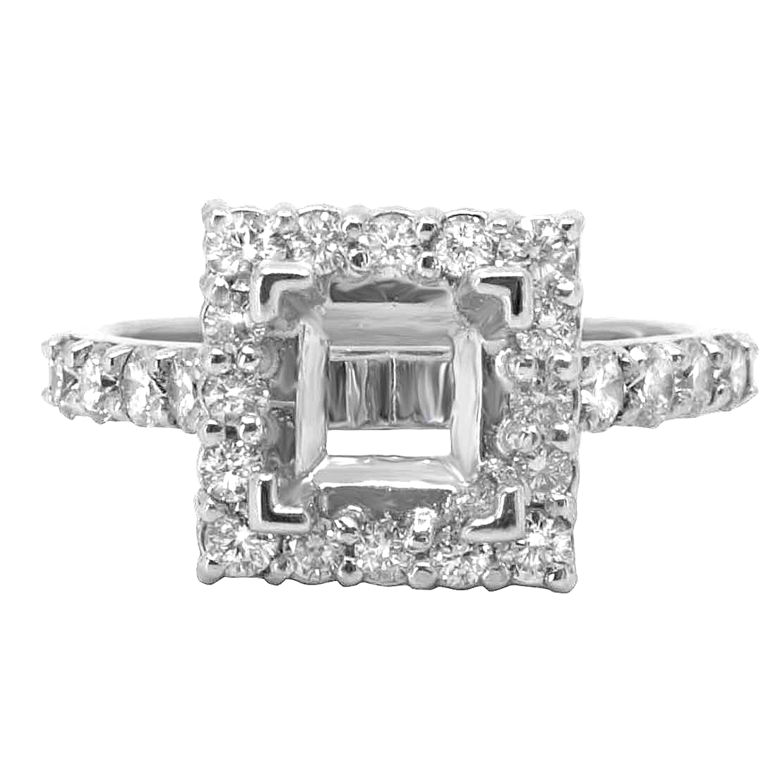14K WHITE GOLD 10MM SQUARE DIAMOND HALO ENGAGEMENT RING