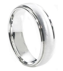 GENTLEMAN'S 14K WHITE GOLD 6.5MM SATIN CENTER AND POLISHED EDGE BAND
