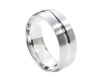 GENTLEMAN'S 14K WHITE GOLD 8MM GROOVED CENTER AND HIGH POLISHED SATIN EDGE BAND