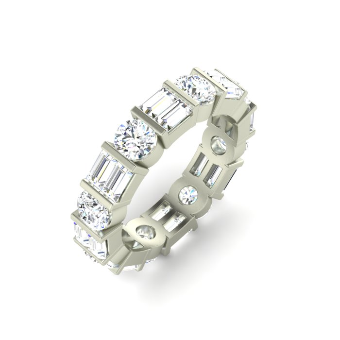 14K WHITE GOLD BAR SET ETERNITY BAND