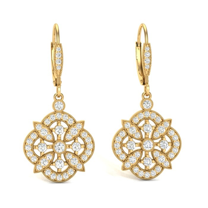 14K YELLOW GOLD FILIGREE FLORAL EARRINGS
