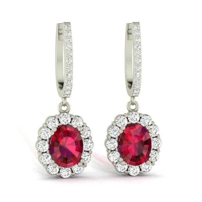14K WHITE GOLD OVAL RUBY DROP EARRINGS