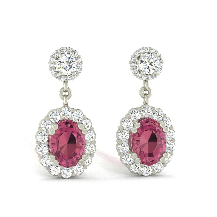 14K WHITE GOLD PINK TOURMALINE HALO EARRINGS