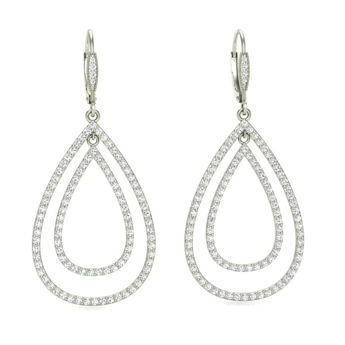 14K WHITE GOLD PAVE PEAR-SHAPED DROPS