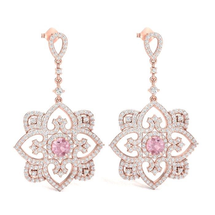 14K ROSE GOLD FANCY MORGANITE EARRINGS