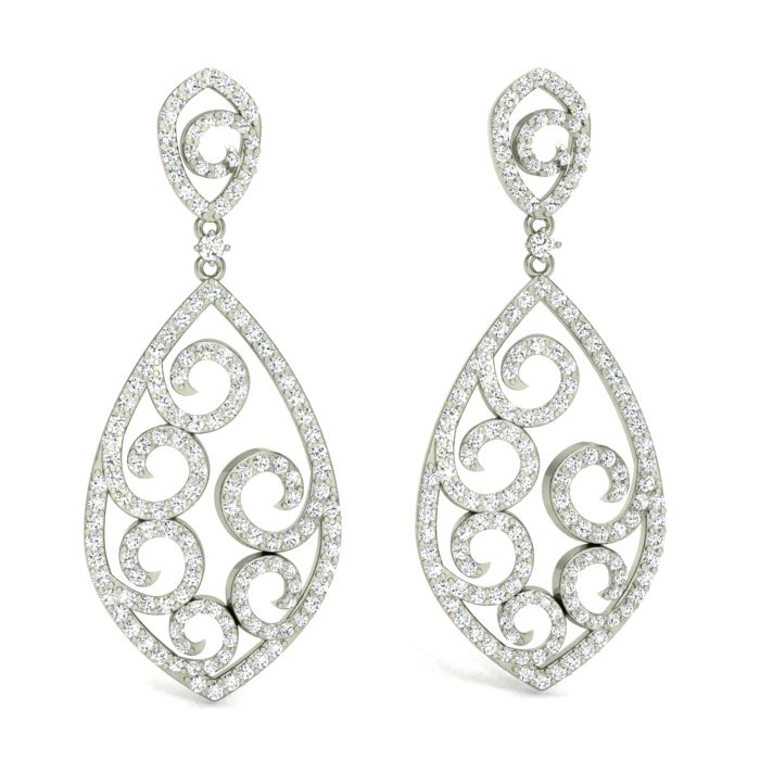 14K WHITE GOLD FANCY SWIRL DESIGN DROPS