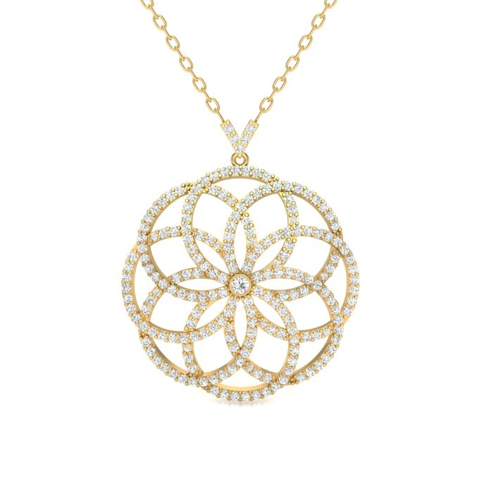 14k yellow gold round pave filigree flower pendant