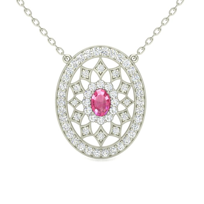 14k white gold fancy oval pendant with pink sapphire center