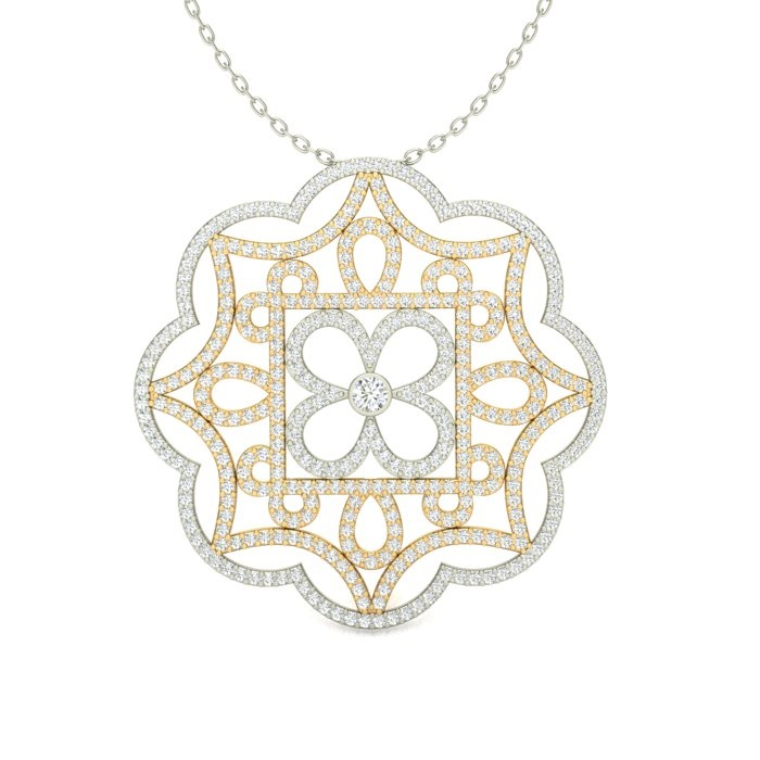 14k two-tone fancy filigree scalloped edge medallion pendant