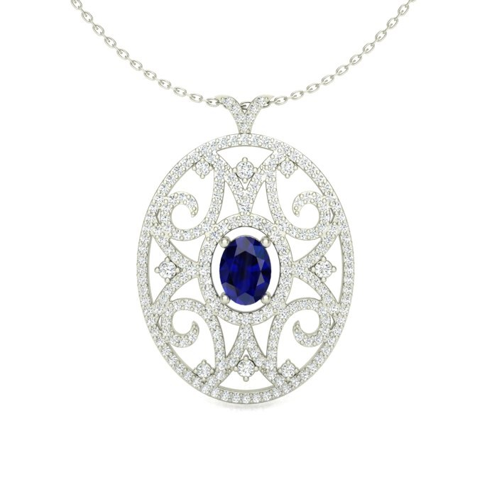 14k white gold oval filigree pendant with a sapphire center