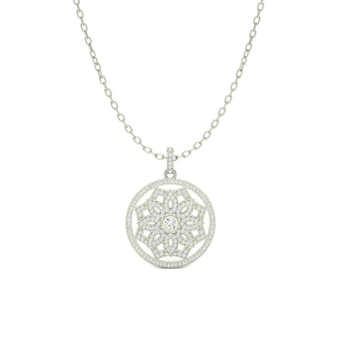 14K WHITE GOLD FANCY MILGRAIN PENDANT