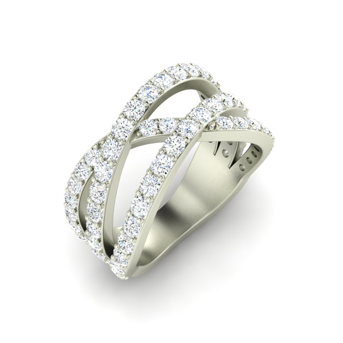 14K WHITE GOLD 3 ROW CROSSOVER RING