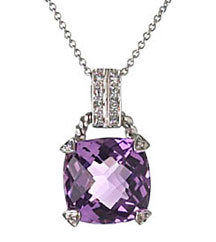 CUSHION AMETHYST AND PAVE DIAMOND PENDANT