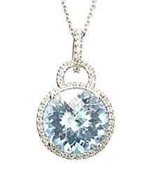 7.00CT ROUND TOPAZ PENDANT PAVE DIAMOND AROUND