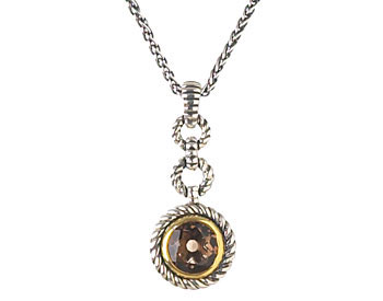 STERLING SILVER ROUND SMOKEY QUARTZ CENTER AND ROPE DESIGN PENDANT