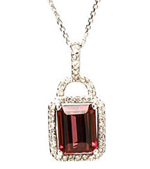 4.60CT EMERALD CUT PINK TOURMALINE AND PAVE DIAMOND PENDANT