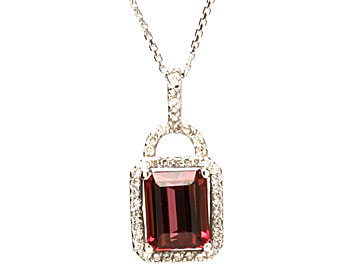 14K WHITE GOLD LOCK STYLE RECTANGLE SHAPED PINK TOURMALINE AND PAVE DIAMOND HALO PENDANT