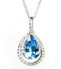 3.78CT PEAR SHAPE BLUE PENDANT PAVE DIAMONDS AT .42TW AROUND